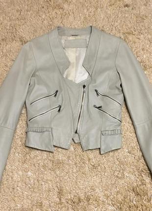 Укороченная кожаная куртка косуха zara woman натуральная
