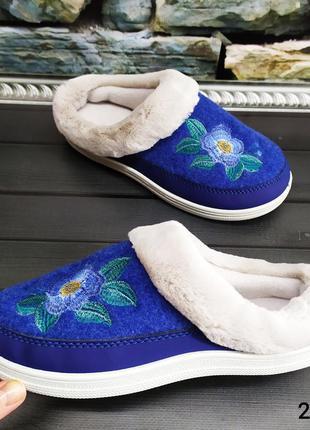 Стильные женские домашние тапочки, dago style, без задника синие