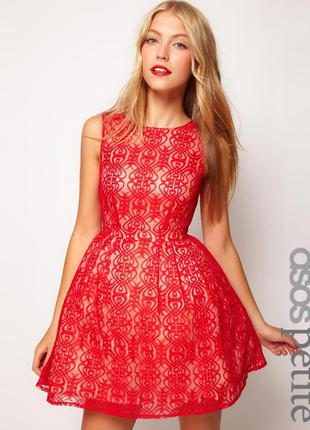 Asos petite exclusive lace dress with cut out back кружевное п...