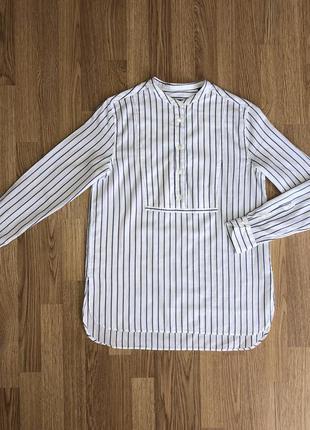 Gant 38 рубашка в полоску бело-синяя без воротника