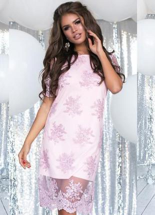 Нарядное кружевное платье нежно розовое пудровое