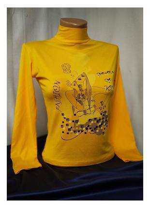 Годьф тонкий, желтая женская водолазка