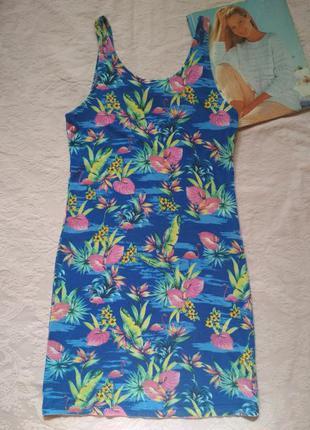 Трикотажное облегающее платье с фламинго atmosphere