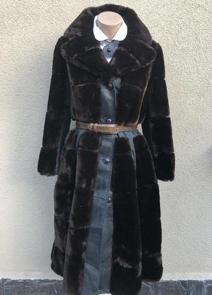 Винтаж,меховое пальто,шубка с кожаными деталями,эксклюзив