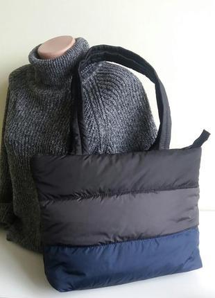 Дутик сумка женская легкая тканевая демисезонная черная  недорого