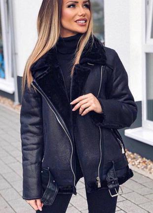 Женская теплая удлиненная дубленка в стиле zara woman черная