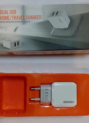 (П) BASTEC 5V 2.4A 2 USB порта зарядка DC адаптер