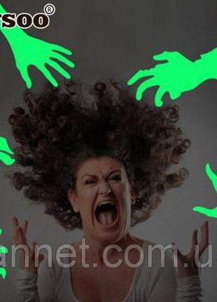 Наклейка для Хэллоуина люминесцентные руки - размер 30*30