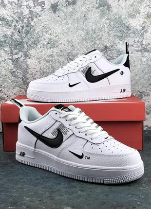 Мужские кожаные белые кроссовки найк nike air force 1 white