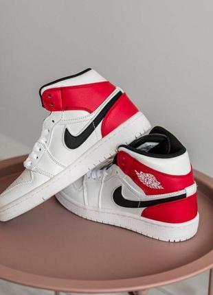 Nike air jordan 1 mid white black gym red женские кроссовки найк