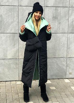 Пуховик женский двусторонний куртка пальто с сумкой на силикон...