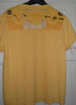 Желтая трикотажная блуза с вышивкой 52-54 размер