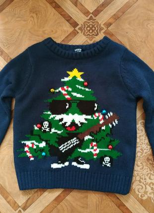 Свитер на мальчика новогодний,елка, новый год, рождество