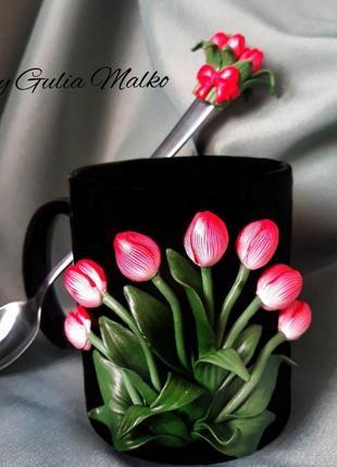 Эксклюзивная чашка с ложечкой с декором из полимерной глины