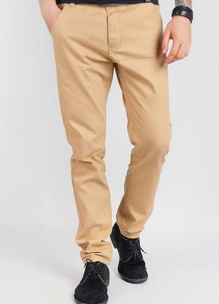 Мужские брюки однотонные песочного цвета