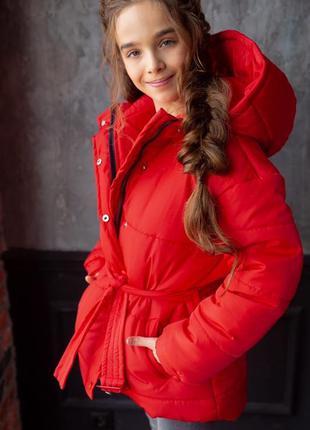 Куртка для девочки цвет розовый зима с капюшоном ( подросток)
