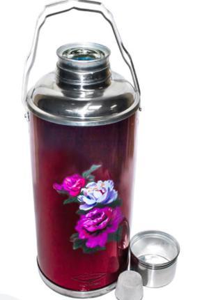 Термос питьевой 2 литра из нержавеющей стали (стеклянная колба) S