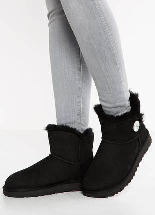 UGG/Угги/Уги/Оригинал UGG MINI Bailey Button Bling Boot Чёрные-25