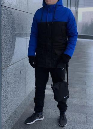 Парка nike сине-черная зимняя+штаны теплые найк+барсетка+перча...