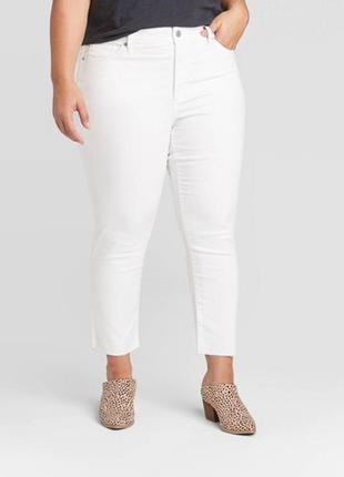 Белые джинсы с пушап пуш-ап на попе капри кроп стрейч батал шт...