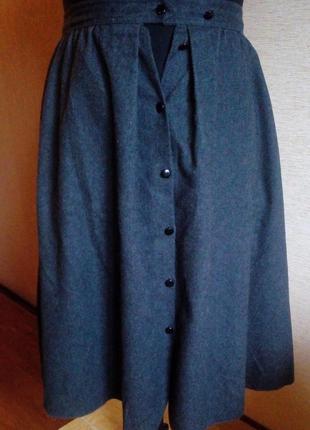 Трендовая шерстяная юбка с карманами 52/54 размера