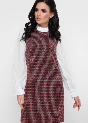 Платье женское теплое приталенного кроя цвета марсала