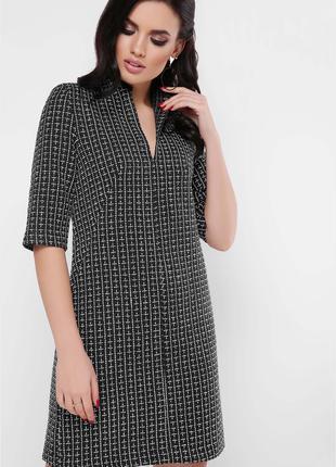 Платье женское строгого стиля черного цвета демисезонное твид