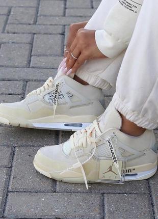 Кросівки nike air jordan 4 retro х off white beige ( premium )...