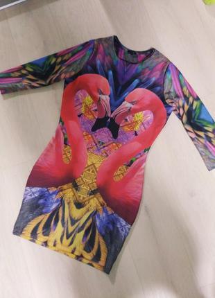 Шикарное платье принт фламинго