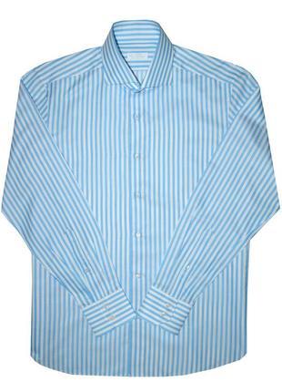 Рубашка rudolf böll премиум сегмента белая в голубую полоску, ...