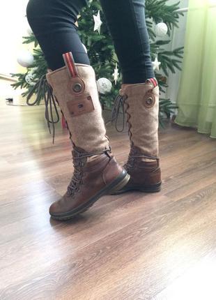 Сапоги на шнуровке ботинки высокие зимние демисезонные кожаные