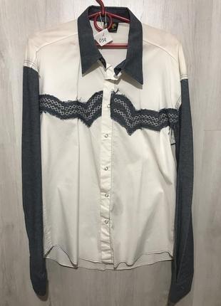 Рубашка мужская palmen джинсовая белая 034 (m)