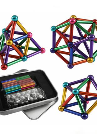 Магнитный конструктор Neo 36 магнитных палочек и 28 стальных шари