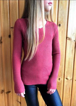 Свитер кофта в рубчик с v вырезом для девочки подростка