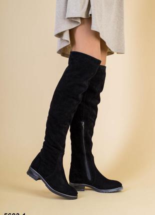 Высокие женские сапоги ботфорты натуральная замша зимние