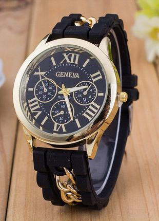 Стильные женские часы с силиконовым ремешком