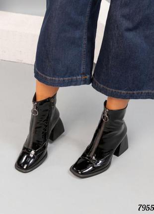 Кожаные лаковые ботильоны натуральная кожа женские ботинки на ...