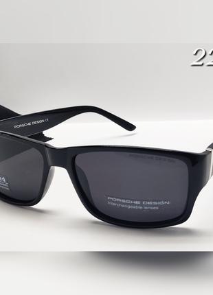 Мужские очки в стиле  porshe черные линза с поляризацией