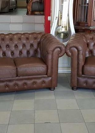 Кожаный комплект мягкой мебели 3+2 честерфилд