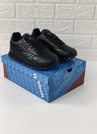 Reebok classic кроссовки женские кожаные угольно чёрные рибок ...