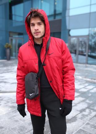 Комплект Найк(Nike) парка красная + штаны теплые + барсетка
