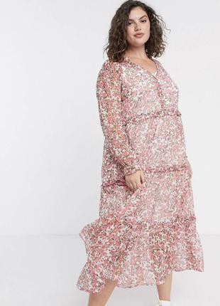 Свободное платье макси с ярусной юбкой и цветочным принтом asos