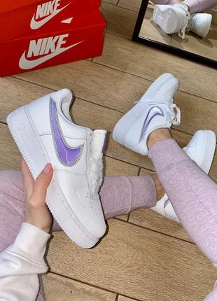 Кроссовки nike air force 1 white & purple / женские найк форс
