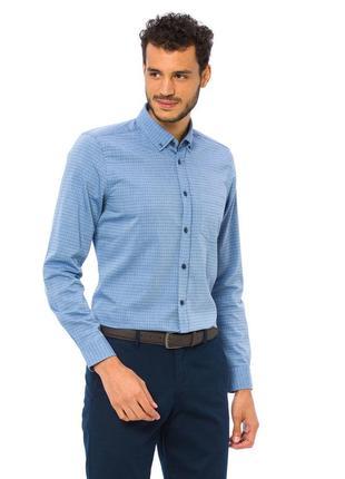 Мужская рубашка голубая lc waikiki / лс вайкики с синими пугов...