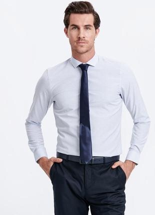 Голубая мужская рубашка lc waikiki в сине-голубые полосы и зиг...