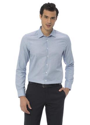 Голубая мужская рубашка lc waikiki / лс вайкики в светлую полоску