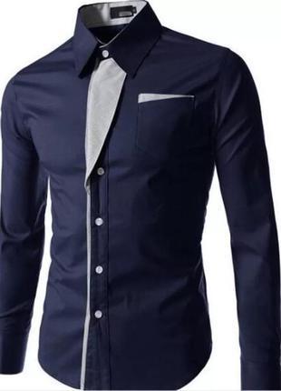 Мужская приталенная рубашка camisa masculina, повседневная фор...