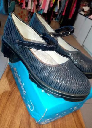 Туфли для девочки на тракторной подошве р 34