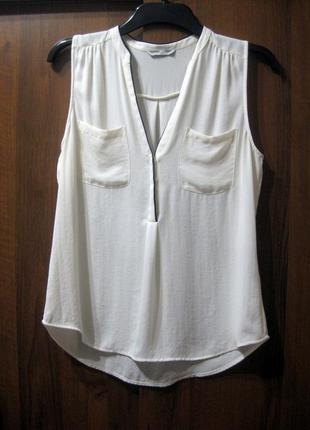 Блузка майка h&m белая с карманами без рукавов