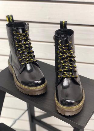 Ботинки 32-40р натуральная лаковая кожа деми зима